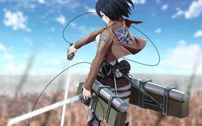 Picture look, girl, the city, wall, anger, scarf, swords, art, shingeki no kyojin, mikasa ackerman, fixtures, …