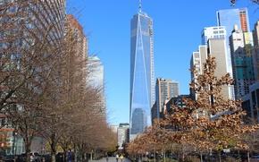 Picture USA, trees, New York, Manhattan, NYC, New York City, skyscraper, people, day, walk, One World …