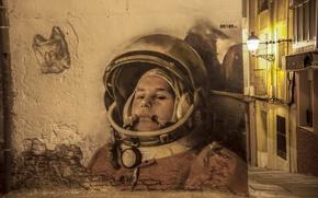 Picture wall, graffiti, astronaut, the suit, hero, USSR, legend, pilot, Graffiti, Yuri Gagarin