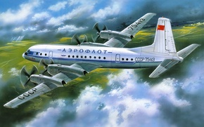 Picture the plane, art, Aeroflot, passenger, for, Ilyushin, airlines, length, Of the Soviet Union., four-engine, the …