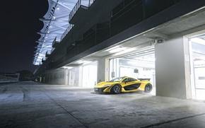 Picture Yellow, Supercar, Garage, Track, McLaren P1, Yas Marina Circuit