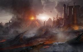 Picture fiction, the volcano, art, the eruption, lava, temple