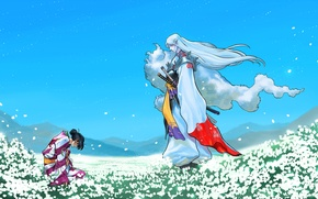 Picture field, figure, anime, meadow, art, samurai, kimono, field, anime, art, blue sky, samurai, fanart, fanart, …