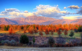 Picture autumn, forest, the sky, clouds, trees, mountains