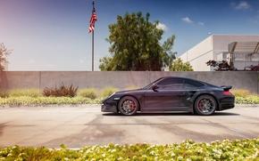 Picture black, 997, Porsche, profile, turbo, Porsche, black