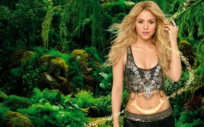 Picture greens, forest, decoration, background, blonde, outfit, singer, Shakira, Shakira