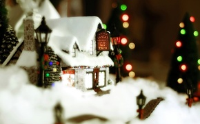 Picture winter, new year, Christmas, house