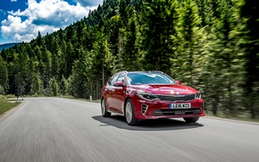Picture road, forest, red, speed, forest, KIA, road, Kia, Optima, GT Line, Sport wagon