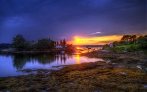 Wallpaper FOREST, The SKY, CLOUDS, HOUSE, POND, SUNSET, SHORE, RIVER, ISLANDS, The BRIDGE, BOAT