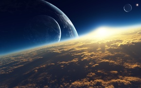 Picture space, clouds, sunrise, planet