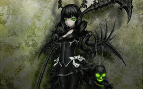 Picture skull, black, black hair, black rock shooter, green eyes