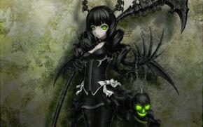 Picture skull, black, black hair, black rock shooter, green eyes