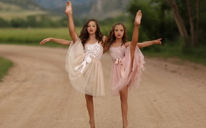 Picture children, girls, dance, little dancers