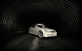 Wallpaper The tunnel, White, Mercedes, Light, Road