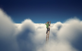 Picture the sky, clouds, stairs, male