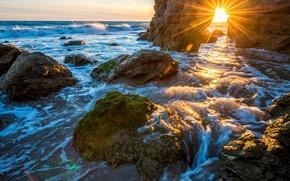 Picture sea, stones, rocks, shore, horizon, surf, USA, the rays of the sun, Malibu, Malibu
