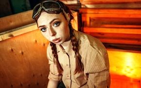 Picture glasses, freckles, braids, Olesya, Kirill Averyanov