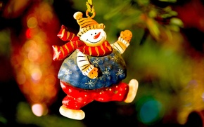 Wallpaper toy, fun, tree, New Year, Christmas, snowman, Happy New Year, Christmas, holidays, bokeh, background., snowman, ...