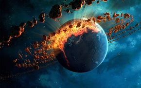 Picture space, fiction, planet, art, destruction, meteor belt
