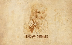 Picture the inscription, figure, portrait, minimalism, artist, gesture, minimalism, leonardo da vinci