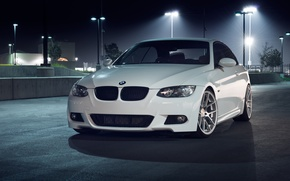 Picture white, night, BMW, BMW, before, white, 335i, E93, The 3 series