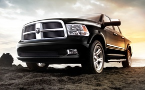 Picture sand, the sky, shore, jeep, SUV, Dodge, pickup, dodge, the front, 1500, laraman limited, Ram, …