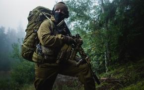 Picture forest, soldiers, equipment, Kalashnikov