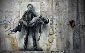 Picture wall, figure, art, mural, concrete