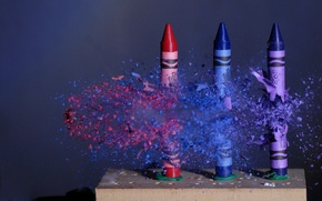 Picture MOVEMENT, FLIGHT, PENCILS, BULLET, COLORED, CRAYONS, PARTICLES, FRAGMENTS