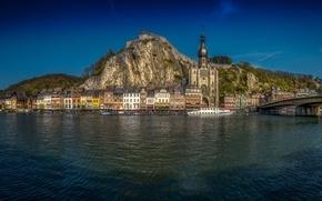 Picture mountains, bridge, river, building, Church, panorama, Belgium, promenade, Belgium, ship, Dinant, Namur, NAMUR, the river …