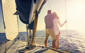 Picture sea, the sun, yacht, pair, sails, two