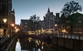 Picture street, the evening, Amsterdam, lights, channel, twilight, Holland