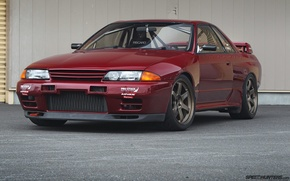 Picture nissan, turbo, red, wheels, skyline, japan, jdm, tuning, gtr, front, face, racing, r32, nismo, datsun, …