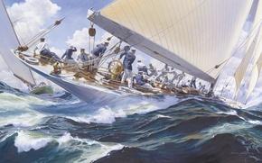 Picture sea, wave, yacht, art, Russ Kramer