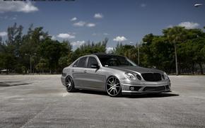 Picture machine, auto, asphalt, trees, before, Mercedes Benz, auto, Black, Matte, Wheels, Concave, CW-S5, E-500