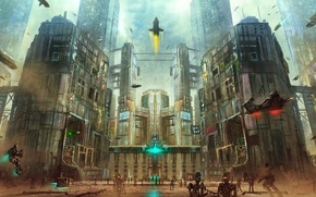 Picture the city, fiction, skyscrapers, robots, area, megapolis, art, Cyberpunk