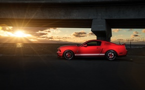 Picture Mustang, Ford, Shelby, GT500, Muscle, Red, Car, Sunset, Side, Collection, Aristo