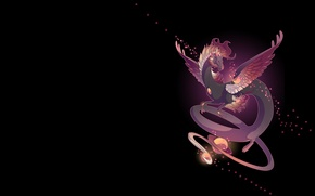 Picture space, night, dragon, planet, art, fantasy, mythka