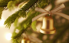 Picture holiday, new year, bell, happy new year, Christmas decorations, Christmas Wallpaper