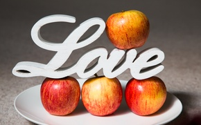 Picture apples, plate, love, fruit