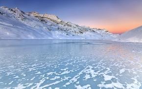 Wallpaper Winter, White, Sky, Water, Lake, Mountain, Sunrise, Alba, Neve, Sun, Engadine, Inverno, Switzerland, Snow, Passo, ...