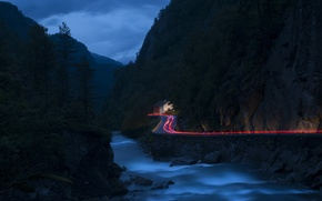 Picture road, landscape, mountains, night, lights, river