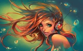Picture look, water, girl, smile, headphones, art, sakimichan