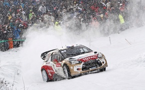 Picture Snow, People, Turn, Citroen, DS3, WRC, Rally, Fans, Competition