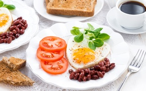 Picture Coffee, Plate, Tomatoes, Food, Scrambled eggs, Bread