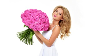 Wallpaper dress, in white, white background, makeup, hairstyle, beauty, roses, smile, blonde, bouquet, flowers