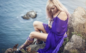 Picture sea, rocks, Blonde