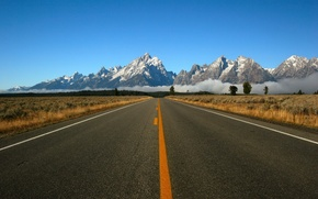 Picture road, mountains, markup
