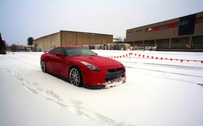 Picture winter, snow, red, GTR, red, Nissan, wheels, sports car, Nissan, frontside