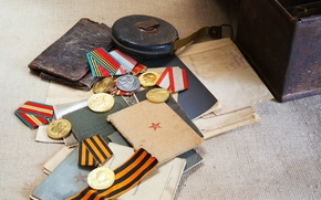 Wallpaper May 9, awards, documents, medal, victory day